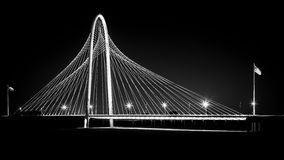 Margaret Hunt Hill bridge by night in Dallas, USA Stock Photos