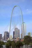 Margaret Hunt Hill Bridge and  skyline in Dallas Royalty Free Stock Image