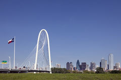 Margaret Hunt Hill Bridge, Skyline Dallas, Texas Royalty Free Stock Photo