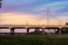 Margaret Hunt Hill Bridge Sunset. This is the beautiful view of Margaret Hunt Hill Bridge during sunset in Dallas, TX Stock Images