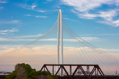 Margaret Hunt Hill Bridge Sunset. This is the beautiful view of Margaret Hunt Hill Bridge during sunset in Dallas, TX Stock Photo