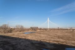 Margaret Hunt Hill Bridge in Downtown Dallas, Texas. The Margaret Hunt Hill and old railway bridge in Downtown Dallas, Texas, USA spans the Trinity River. It is Royalty Free Stock Photo