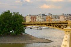 Margaret island and Margaret bridge fragment, Budapest royalty free stock images