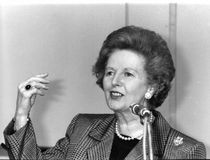 Margaret Thatcher. Former British Prime Minister and Leader of the Conservative party, at a press conference on July 1, 1991 in London
