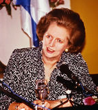 Margaret Thatcher. Became the first standing British prime minister to visit Israel.  Here she answers reporters' questions in Jerusalem; May 28, 1986
