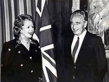 Margaret Thatcher and Shimon Peres. Margaret Thatcher became the first standing British prime minister to make an official visit to Israel. She is seen here in royalty free stock image