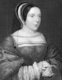 Margaret Tudor. (1489-1541) on engraving from 1838. Queen of Scotland. Engraved by J.Cochran and published by J.Tallis & Co Royalty Free Stock Photos