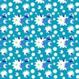 Margaridas sem emenda do teste padrão no azul imagem de stock