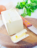 Margarine. On the wooden board Stock Photography