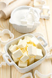 Margarine. Fresh sliced margarine in the bowl Royalty Free Stock Images