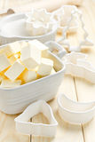 Margarine. Fresh sliced margarine in the bowl Royalty Free Stock Photos