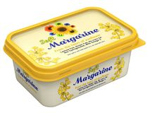 Margarine Box. With abstract design isolated on white background - 3D illustration Stock Photos
