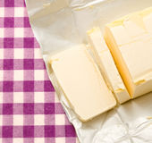 Margarine. Opened and cut fresh in closeup Stock Images