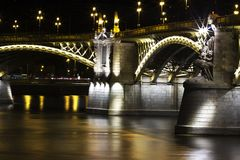 This is Margarit bridge from Budapest night in the river side. stock image
