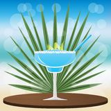 Margarita blue curacao cocktail stock illustration