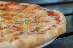 Margarita closeup. Fresh baked margarita pizza closeup horizontal photo Stock Photo