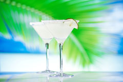 Margarita cocktail on beach with seascape background Stock Images