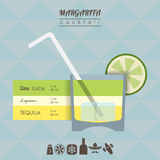 Margarita cocktail flat style illustration Royalty Free Stock Images