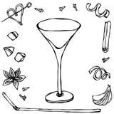 Margarita Cocktail Glass Ilustración drenada mano del vector Foto de archivo libre de regalías