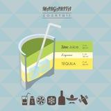 Margarita cocktail isometric illustration Stock Image