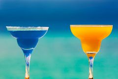 Margarita cocktail and mango juice Stock Photos