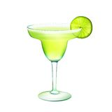 Margarita cocktail realistic. Margarita realistic cocktail in glass with lime slice isolated on white background vector illustration Royalty Free Stock Photography
