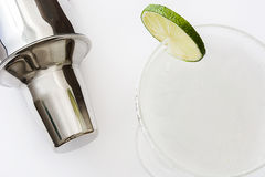 Margarita cocktail and shaker on white background. Fresh Margarita cocktail and shaker on white background stock images