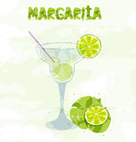 Margarita cocktail. With a slice of lime royalty free illustration