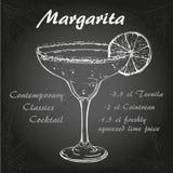 Margarita cocktail vector1. Illustration of Contemporary Classics margarita on chalk-board royalty free illustration