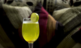 Margarita Before Cushioned Couch Royalty Free Stock Images
