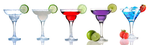 Margarita and Daiquiri cocktail collection Stock Photos