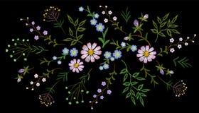 Margarita de la hierba de las ramas del estampado de flores de la tendencia del bordado pequeña con poca flor violeta azul Gente  ilustración del vector