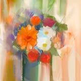 Margarita de la pintura al óleo y flores color de rosa en florero ilustración del vector