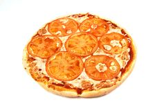 Margarita de pizza d'isolement sur le fond blanc nourriture, fromage images libres de droits