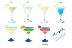 Margarita Drinks. Seven different tipes of Margarita cocktails royalty free illustration