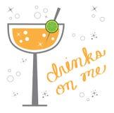Margarita. Fun alcoholic margarita cocktail drink royalty free illustration