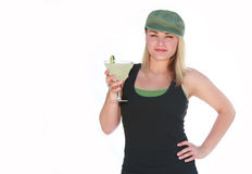 Margarita Girl. Pretty young blonde girl holding a margarita Stock Image