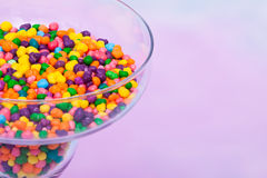 Margarita glass filled with candy. Margarita glass filled with colorful candy Royalty Free Stock Images