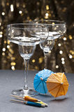 Margarita glass in front of glitter background Royalty Free Stock Photos