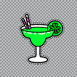 Margarita goblet with a slice of lime and straws vector sticker Royalty Free Stock Image