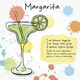 Margarita. Hand drawn illustration of cocktail. Stock Images