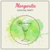 margarita Hand gezeichnete Vektorillustration des Cocktails Bunter Aquarell-Hintergrund Stockfotos