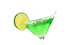 Margarita with Lime Slice. Margarita in salted glass with lime slice, isolated on white, with copy space Stock Photography