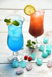 Margarita martini cocktail and blue lagoon with lemon lime and c Royalty Free Stock Images