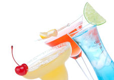 Margarita, martini cocktails, tequila sunrise Stock Images
