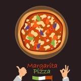 Margarita pizza color flat icon. On dark background royalty free illustration