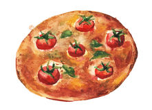Margarita pizza. Handmade watercolor painting illustration. On a white paper art background royalty free illustration