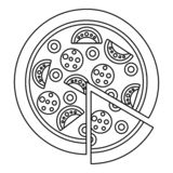 Margarita pizza icon, outline style. Margarita pizza icon. Outline margarita pizza vector icon for web design isolated on white background royalty free illustration