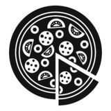 Margarita pizza icon, simple style. Margarita pizza icon. Simple illustration of margarita pizza vector icon for web design isolated on white background royalty free illustration