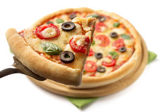Margarita pizza odizolowywająca na bielu Obraz Stock